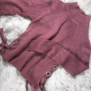 sweater with side tie detail & turtle neck